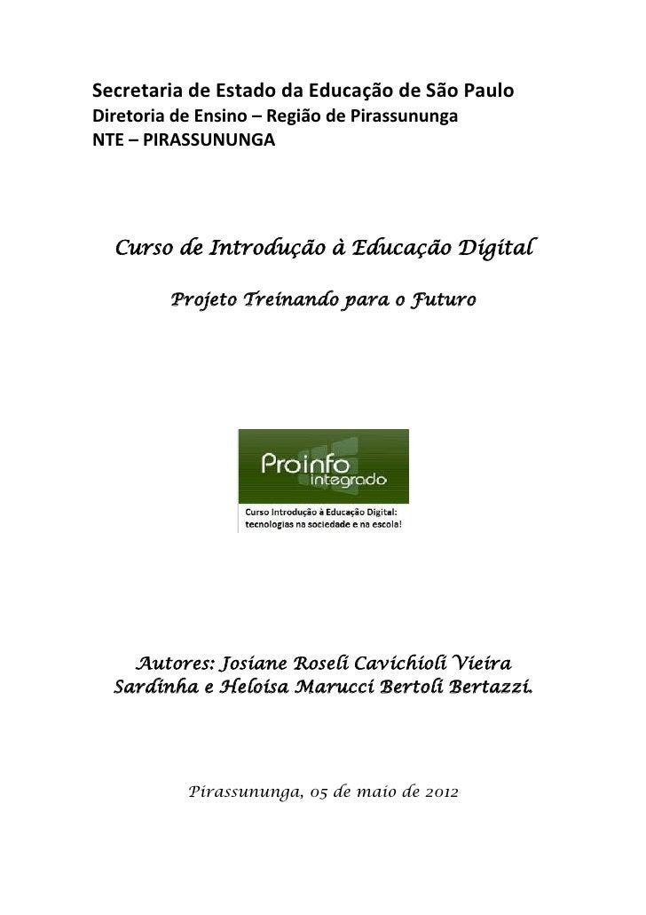 Secretaria de Estado da Educação de São PauloDiretoria de Ensino – Região de PirassunungaNTE – PIRASSUNUNGA  Curso de Intr...