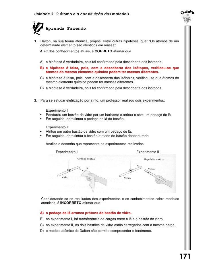 Unidade 5. O átomo e a constituição dos materiais       Aprenda Fazendo1. Dalton, na sua teoria atômica, propôs, entre out...