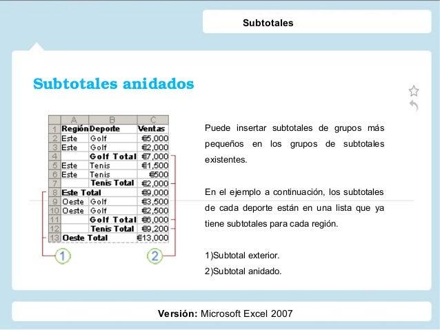 Subtotalesanidados Versión: Microsoft Excel 2007 Subtotales Puede insertar subtotales de grupos más pequeños en los grupo...
