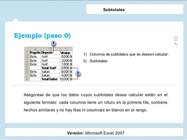 Ejemplo(paso0) Versión: Microsoft Excel 2007 Subtotales 1) Columna de subtotales que se desean calcular. 2) Subtotales A...
