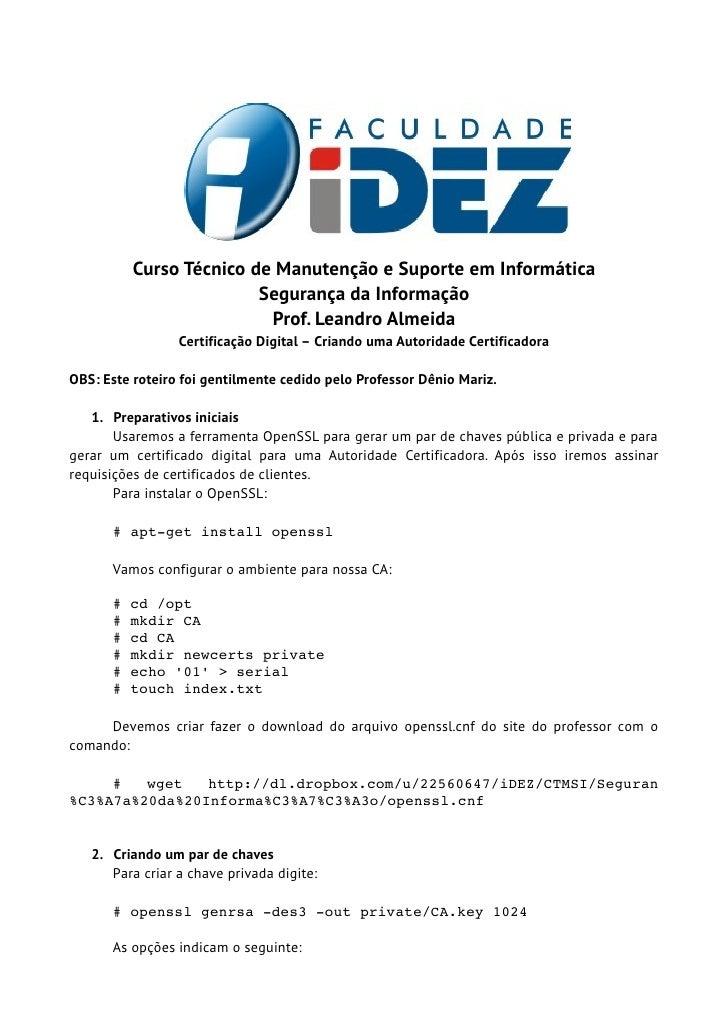 Curso Técnico de Manutenção e Suporte em Informática                         Segurança da Informação                      ...