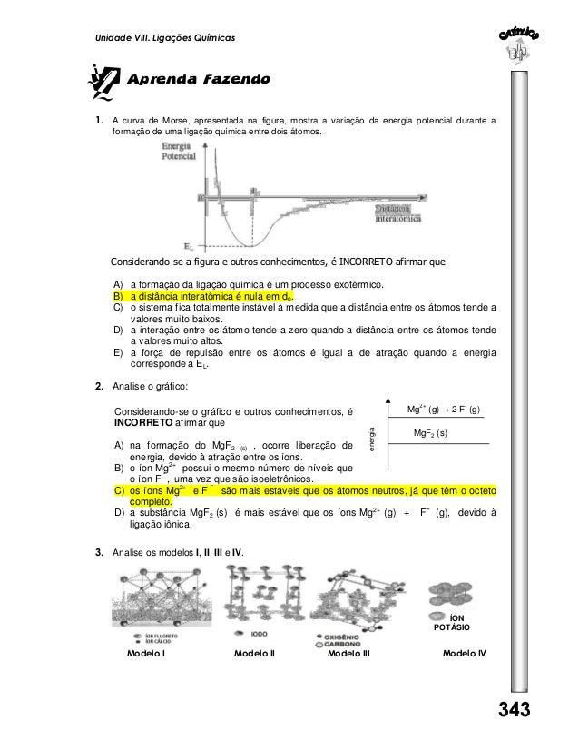 Unidade VIII. Ligações Químicas  Aprenda Fazendo 1. A curva de Morse, apresentada na figura, mostra a variação da energia ...