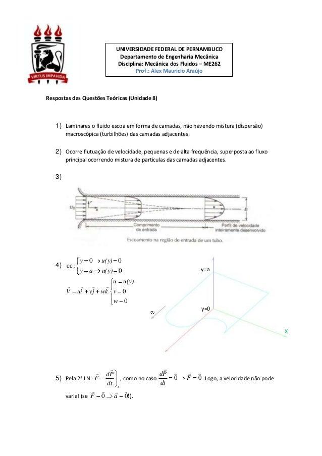 Respostas das Questões Teóricas (Unidade 8) 1) Laminares o fluido escoa em forma de camadas, não havendo mistura (dispersã...