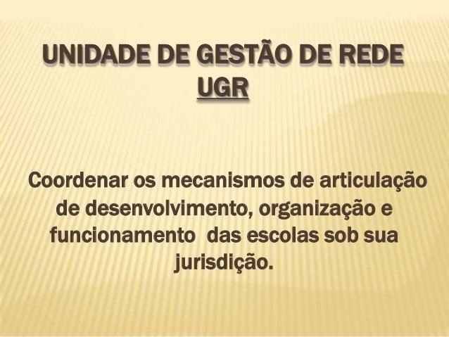 UNIDADE DE GESTÃO DE REDE            UGRCoordenar os mecanismos de articulação   de desenvolvimento, organização e  funcio...