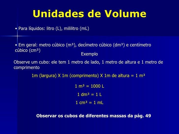 Unidades de Volume• Para líquidos: litro (L), mililitro (mL)• Em geral: metro cúbico (m³), decímetro cúbico (dm³) e centím...