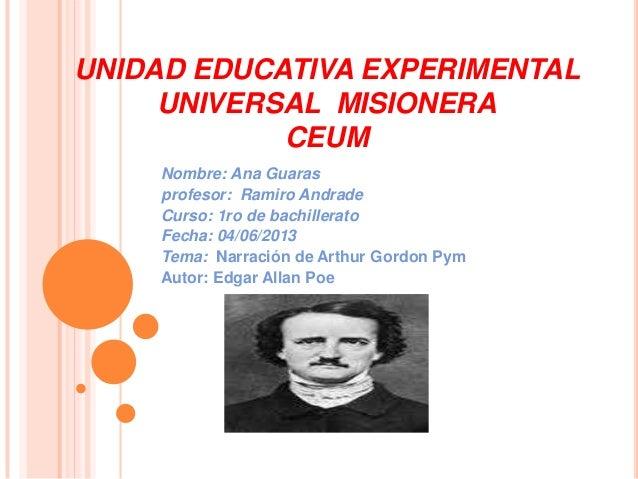 UNIDAD EDUCATIVA EXPERIMENTALUNIVERSAL MISIONERACEUMNombre: Ana Guarasprofesor: Ramiro AndradeCurso: 1ro de bachilleratoFe...