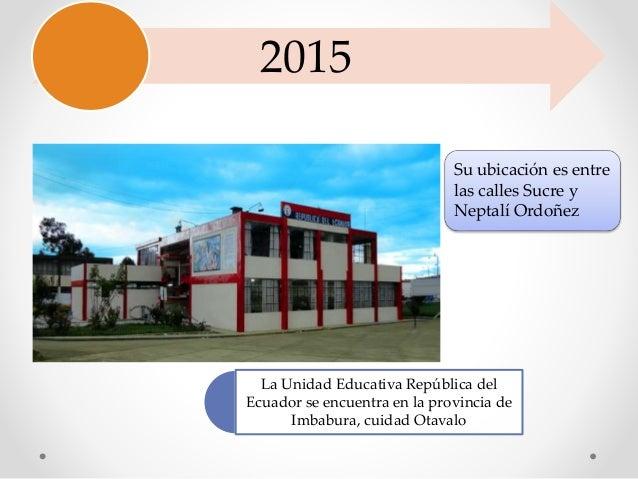 2015 Su ubicación es entre las calles Sucre y Neptalí Ordoñez La Unidad Educativa República del Ecuador se encuentra en la...