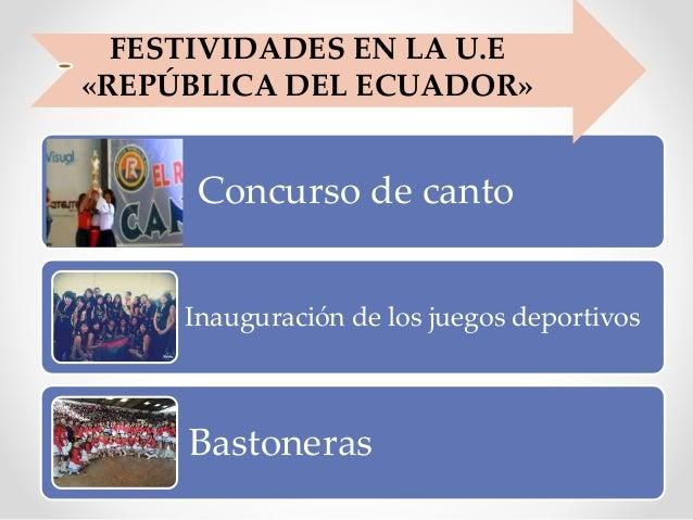 Concurso de canto Inauguración de los juegos deportivos Bastoneras FESTIVIDADES EN LA U.E «REPÚBLICA DEL ECUADOR»