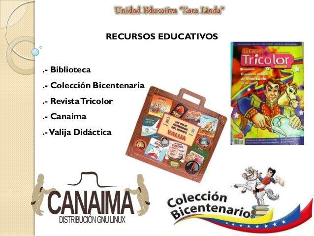 RECURSOS EDUCATIVOS  .- Biblioteca .- Colección Bicentenaria .- Revista Tricolor .- Canaima  .- Valija Didáctica
