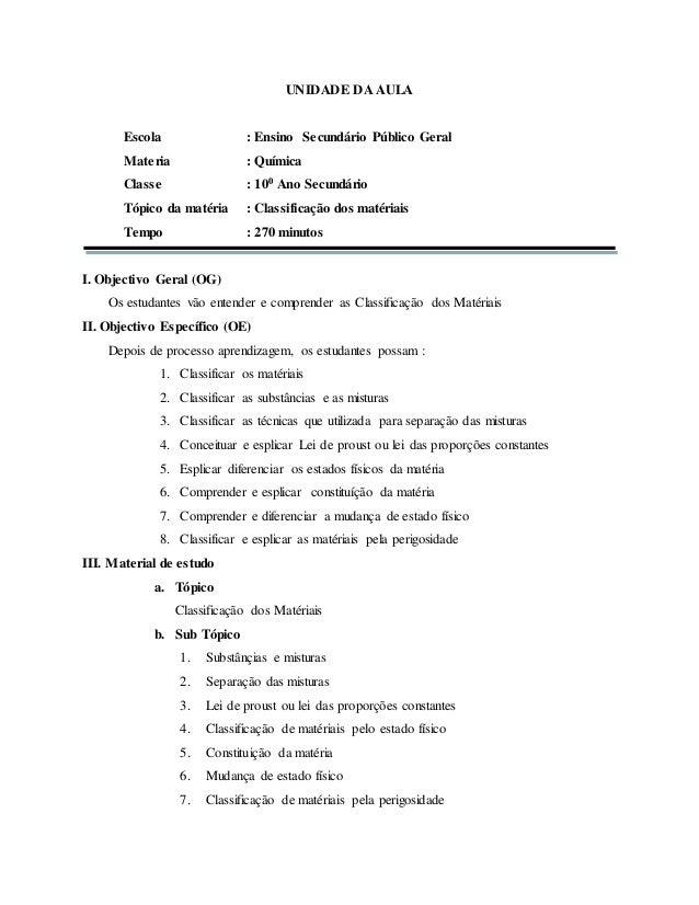 UNIDADE DA AULA Escola : Ensino Secundário Público Geral Materia : Química Classe : 100 Ano Secundário Tópico da matéria :...