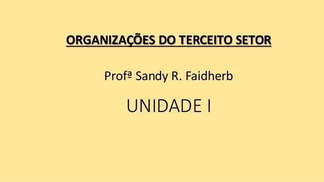 UNIDADE I ORGANIZAÇÕES DO TERCEITO SETOR Profª Sandy R. Faidherb