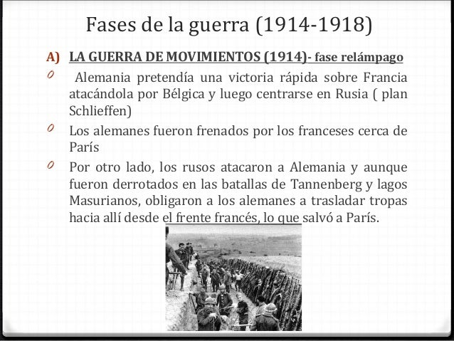 Fases de la guerra (1914-1918) A) LA GUERRA DE MOVIMIENTOS (1914)- fase relámpago 0 Alemania pretendía una victoria rápida...