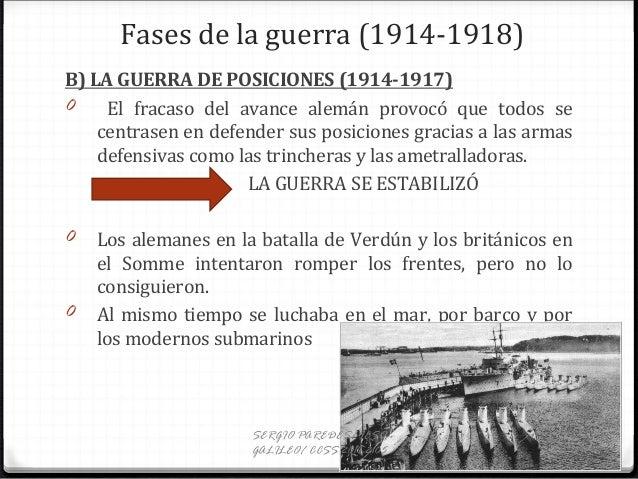 Fases de la guerra (1914-1918) B) LA GUERRA DE POSICIONES (1914-1917) 0 El fracaso del avance alemán provocó que todos se ...