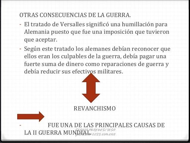 OTRAS CONSECUENCIAS DE LA GUERRA. - El tratado de Versalles significó una humillación para Alemania puesto que fue una imp...