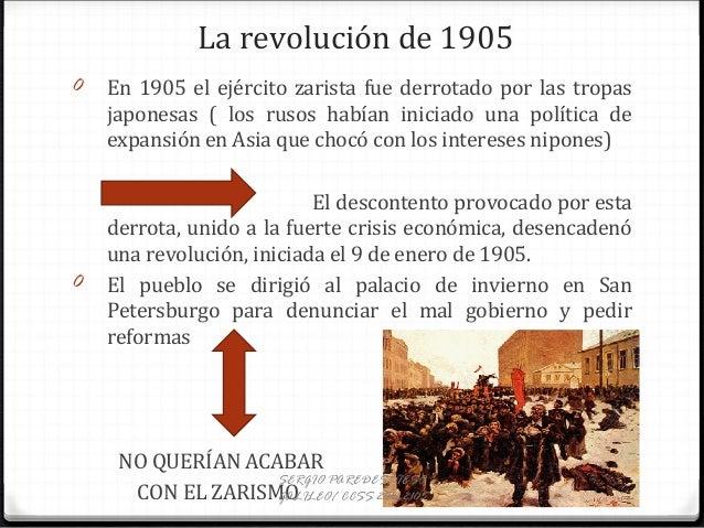 La revolución de 1905 0 En 1905 el ejército zarista fue derrotado por las tropas japonesas ( los rusos habían iniciado una...