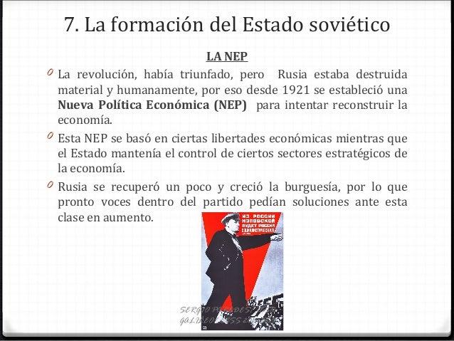 7. La formación del Estado soviético LA NEP 0 La revolución, había triunfado, pero Rusia estaba destruida material y human...