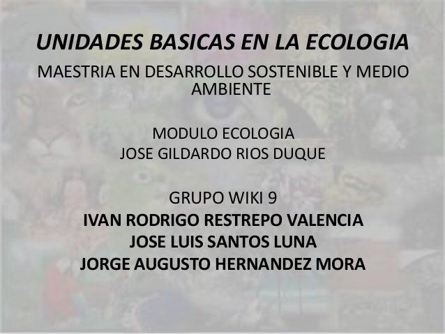 UNIDADES BASICAS EN LA ECOLOGIAMAESTRIA EN DESARROLLO SOSTENIBLE Y MEDIOAMBIENTEMODULO ECOLOGIAJOSE GILDARDO RIOS DUQUEGRU...