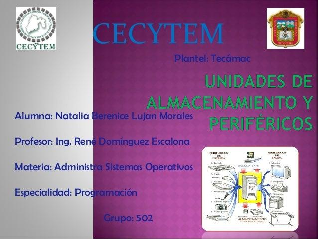 CECYTEM Alumna: Natalia Berenice Lujan Morales Profesor: Ing. René Domínguez Escalona Materia: Administra Sistemas Operati...