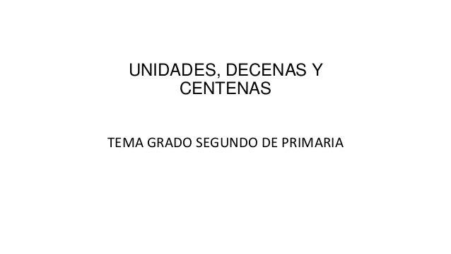UNIDADES, DECENAS Y CENTENAS TEMA GRADO SEGUNDO DE PRIMARIA