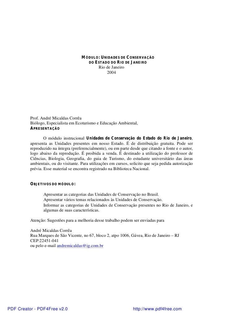 MÓDULO: UNIDADES DE CONSERVAÇÃO                                         DO ESTADO DO RIO DE JANEIRO                       ...