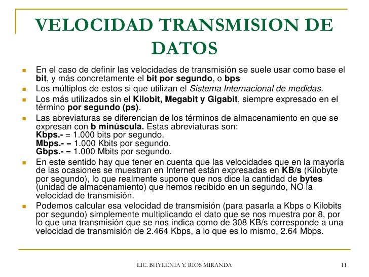Velocidad de transmision de datos