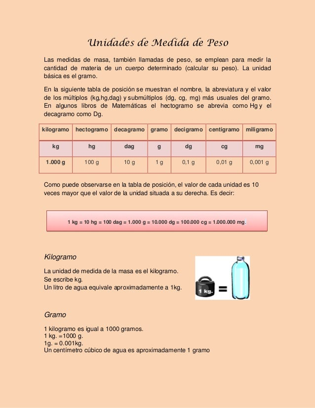 Unidades de Medida de Peso Las medidas de masa, también llamadas de peso, se emplean para medir la cantidad de materia de ...