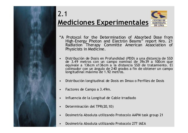"""2.1Mediciones Experimentales""""A Protocol for the Determination of Absorbed Dose from   High-Energy Photon and Electrón Beam..."""