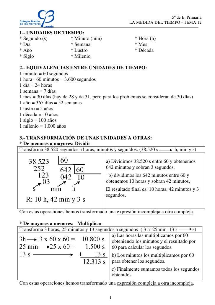 5º de E. Primaria                                                        LA MEDIDA DEL TIEMPO - TEMA 121.- UNIDADES DE TIE...