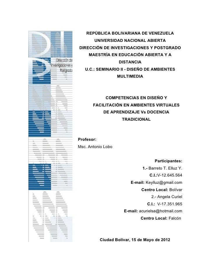 REPÚBLICA BOLIVARIANA DE VENEZUELA        UNIVERSIDAD NACIONAL ABIERTADIRECCIÓN DE INVESTIGACIONES Y POSTGRADO     MAESTRÍ...