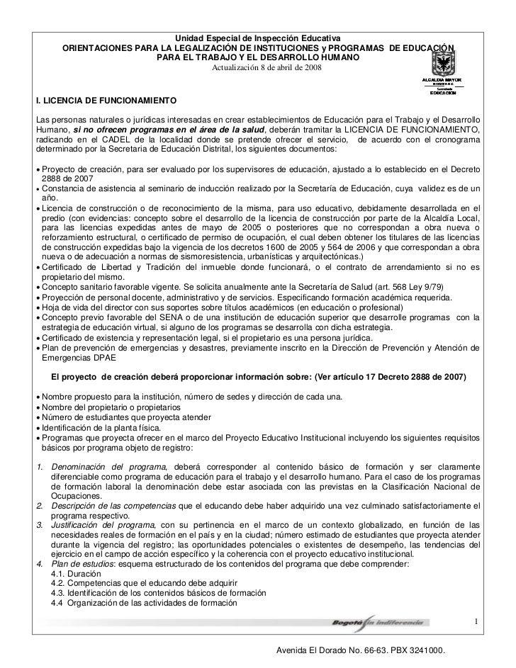 Unidad Especial de Inspección Educativa       ORIENTACIONES PARA LA LEGALIZACIÓN DE INSTITUCIONES y PROGRAMAS DE EDUCACIÓN...