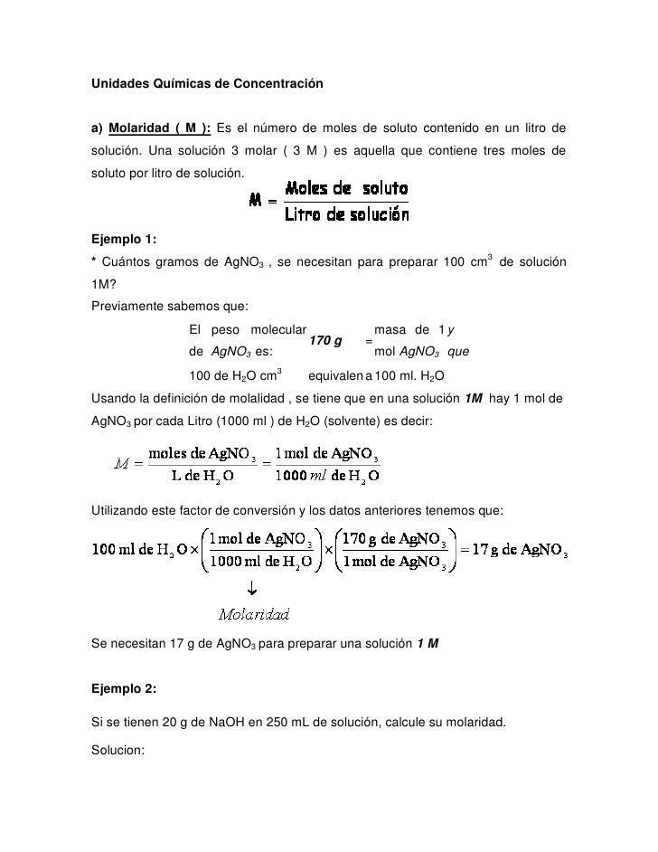 Unidades Químicas De Concentración