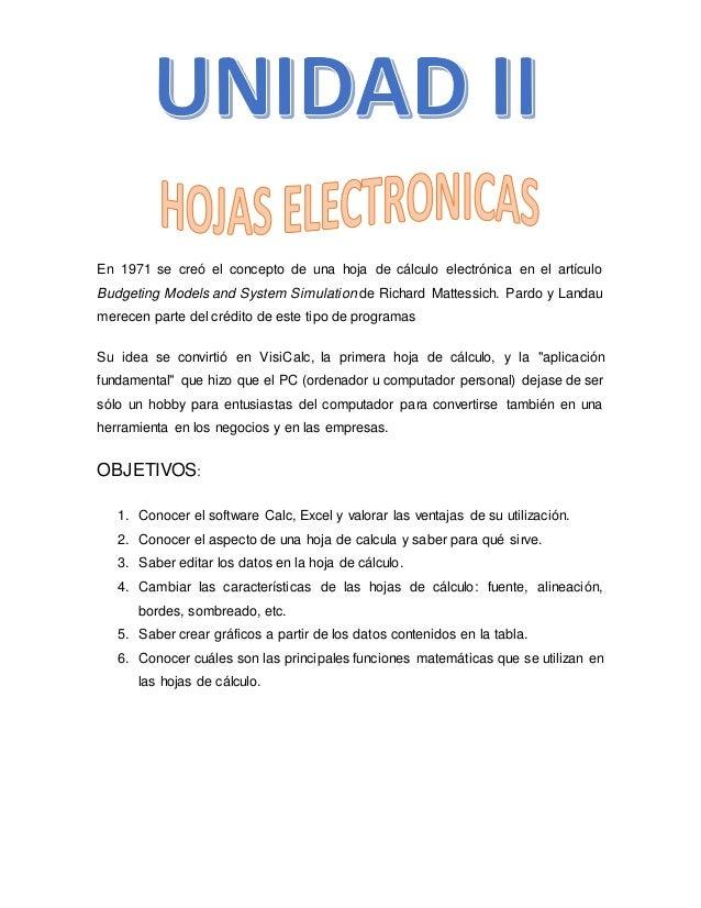 Unidad 2: Hojas Electronicas.