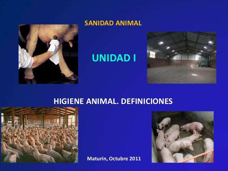SANIDAD ANIMAL        UNIDAD IHIGIENE ANIMAL. DEFINICIONES       Maturín, Octubre 2011
