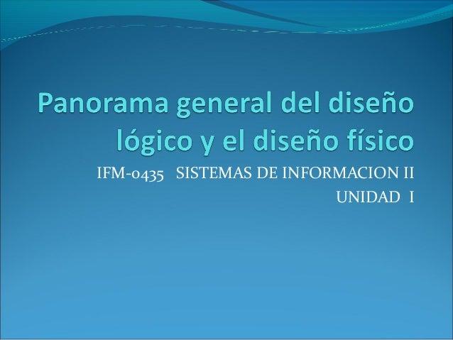 IFM-0435 SISTEMAS DE INFORMACION II                          UNIDAD I