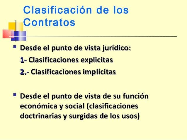Clasificación de los Contratos  Desde el punto de vista jurídico:Desde el punto de vista jurídico: 1-1- Clasificaciones e...