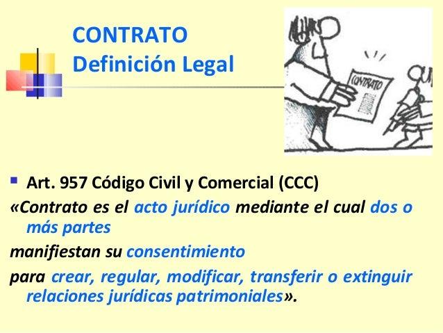 CONTRATO Definición Legal  Art. 957 Código Civil y Comercial (CCC) «Contrato es el acto jurídico mediante el cual dos o m...