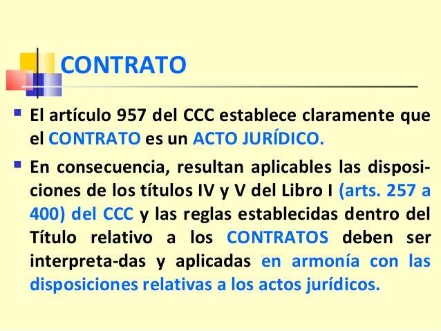 CONTRATO  El artículo 957 del CCC establece claramente que el CONTRATO es un ACTO JURÍDICO.  En consecuencia, resultan a...