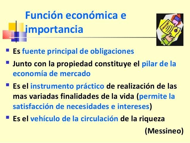 Función económica e importancia  Es fuente principal de obligaciones  Junto con la propiedad constituye el pilar de la e...