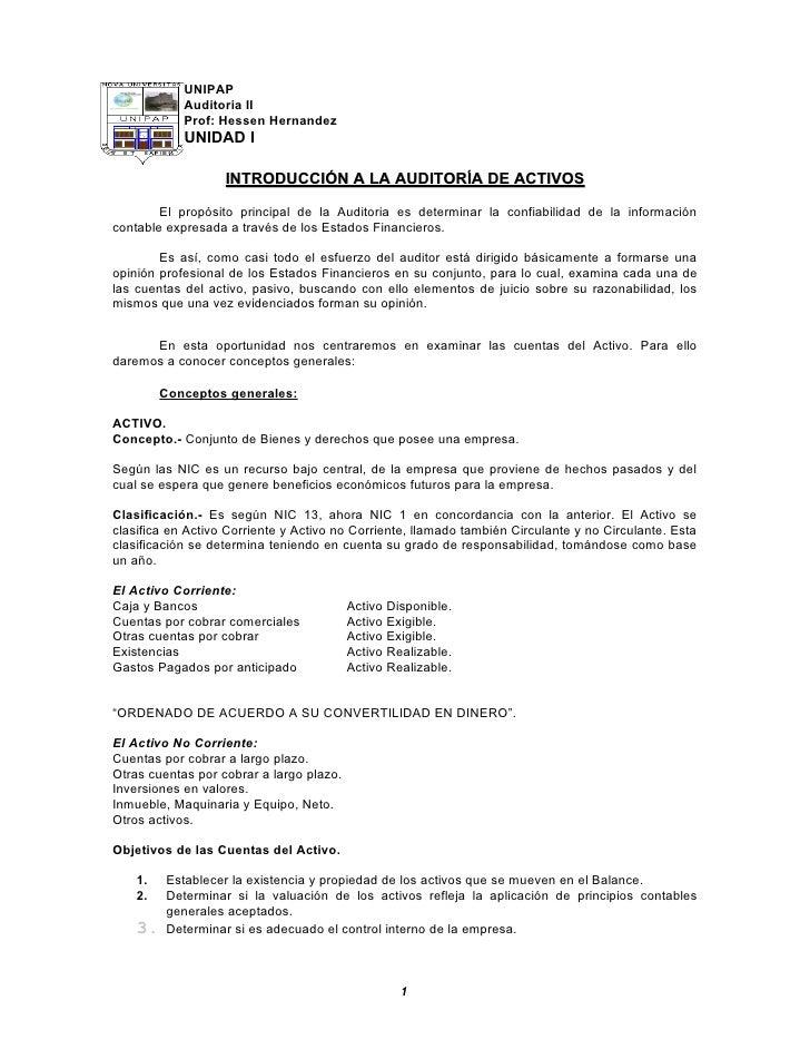 UNIPAP             Auditoria II             Prof: Hessen Hernandez             UNIDAD I                     INTRODUCCIÓN A...