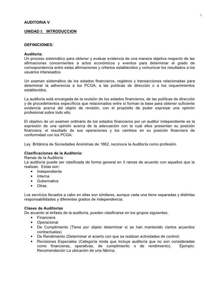 1AUDITORIA VUNIDAD I: INTRODUCCIONDEFINICIONES:Auditoria:Un proceso sistemático para obtener y evaluar evidencia de una ma...