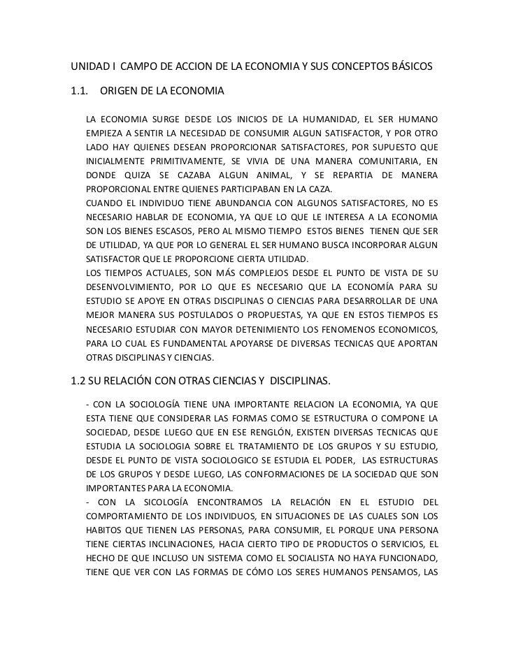 UNIDAD I  CAMPO DE ACCION DE LA ECONOMIA Y SUS CONCEPTOS BÁSICOS<br />ORIGEN DE LA ECONOMIA<br />LA ECONOMIA SURGE DESDE L...