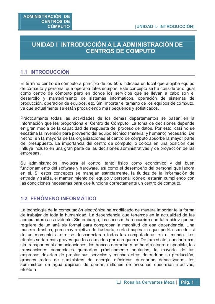 ADMINISTRACIÓN DE            CENTROS DE                CÓMPUTO                                    [UNIDAD I.- INTRODUCCIÓN...