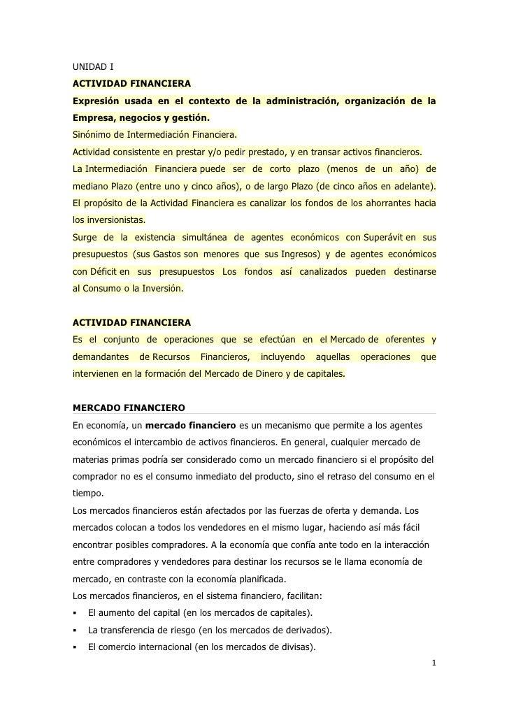UNIDAD IACTIVIDAD FINANCIERAExpresión usada en el contexto de la administración, organización de laEmpresa, negocios y ges...