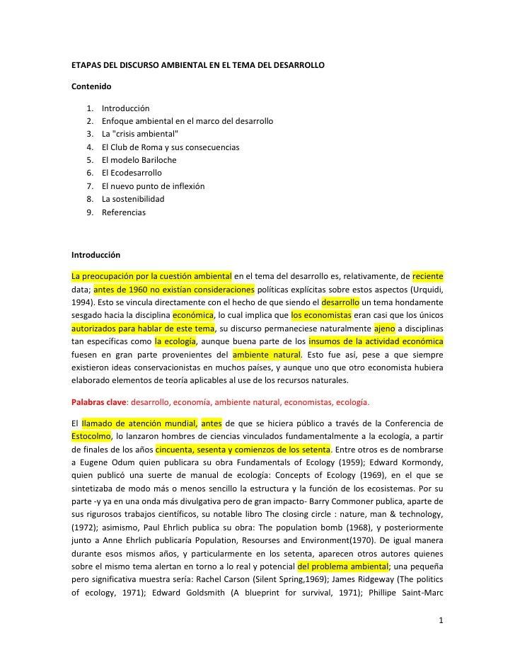ETAPAS DEL DISCURSO AMBIENTAL EN EL TEMA DEL DESARROLLO<br />Contenido<br />Introducción<br />Enfoque ambiental en el marc...