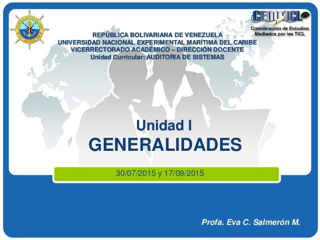LOGO REPÚBLICA BOLIVARIANA DE VENEZUELA UNIVERSIDAD NACIONAL EXPERIMENTAL MARÍTIMA DEL CARIBE VICERRECTORADO ACADÉMICO – D...