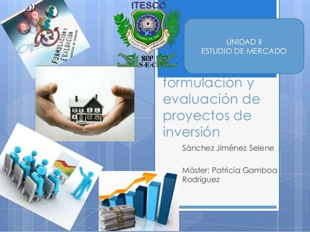 UNIDAD II      ESTUDIO DE MERCADOformulación yevaluación deproyectos deinversión  Sánchez Jiménez Selene  Máster: Patricia...