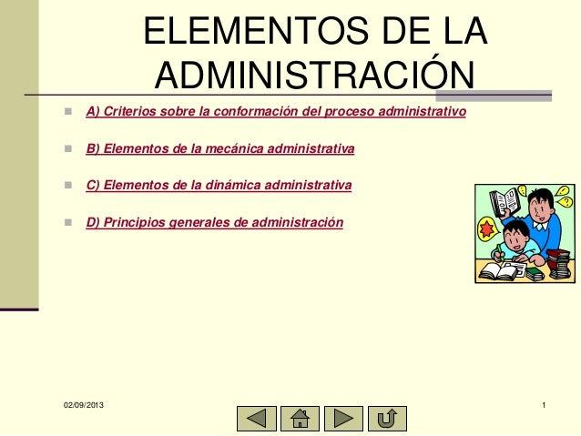 02/09/2013 1 ELEMENTOS DE LA ADMINISTRACIÓN  A) Criterios sobre la conformación del proceso administrativo  B) Elementos...