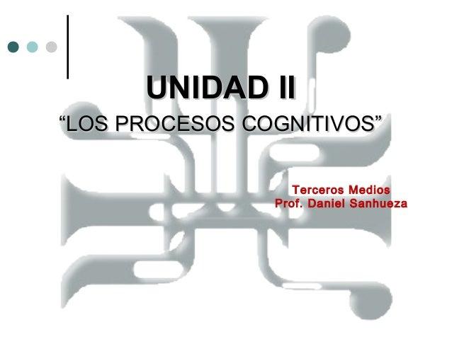 """UNIDAD IIUNIDAD II """"""""LOS PROCESOS COGNITIVOS""""LOS PROCESOS COGNITIVOS"""" Terceros Medios Prof. Daniel Sanhueza"""