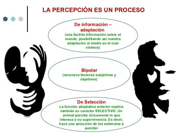LA PERCEPCIÓN ES UN PROCESO Bipolar (reconoce factores subjetivos y objetivos) De Selección La función adaptativa anterior...