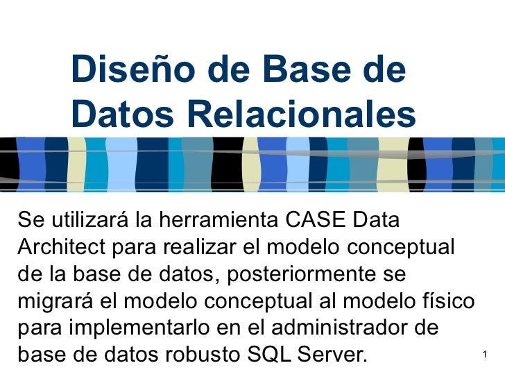 Diseño de Base de     Datos RelacionalesSe utilizará la herramienta CASE DataArchitect para realizar el modelo conceptuald...
